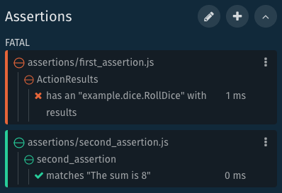 Assertion Panel with Assertions