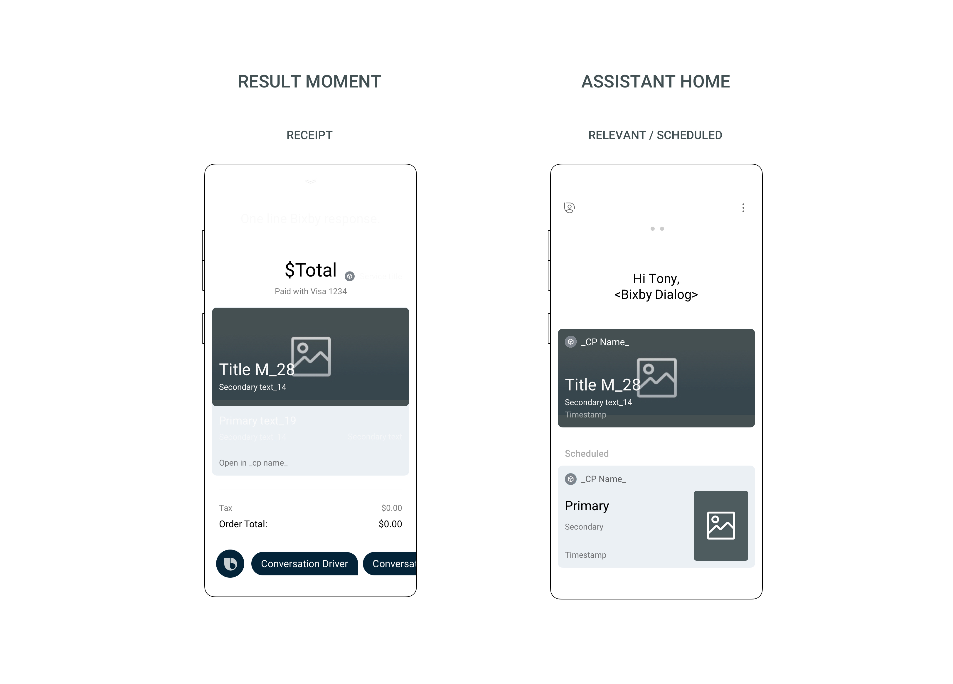 Bixby Main page layout of an Activity Card