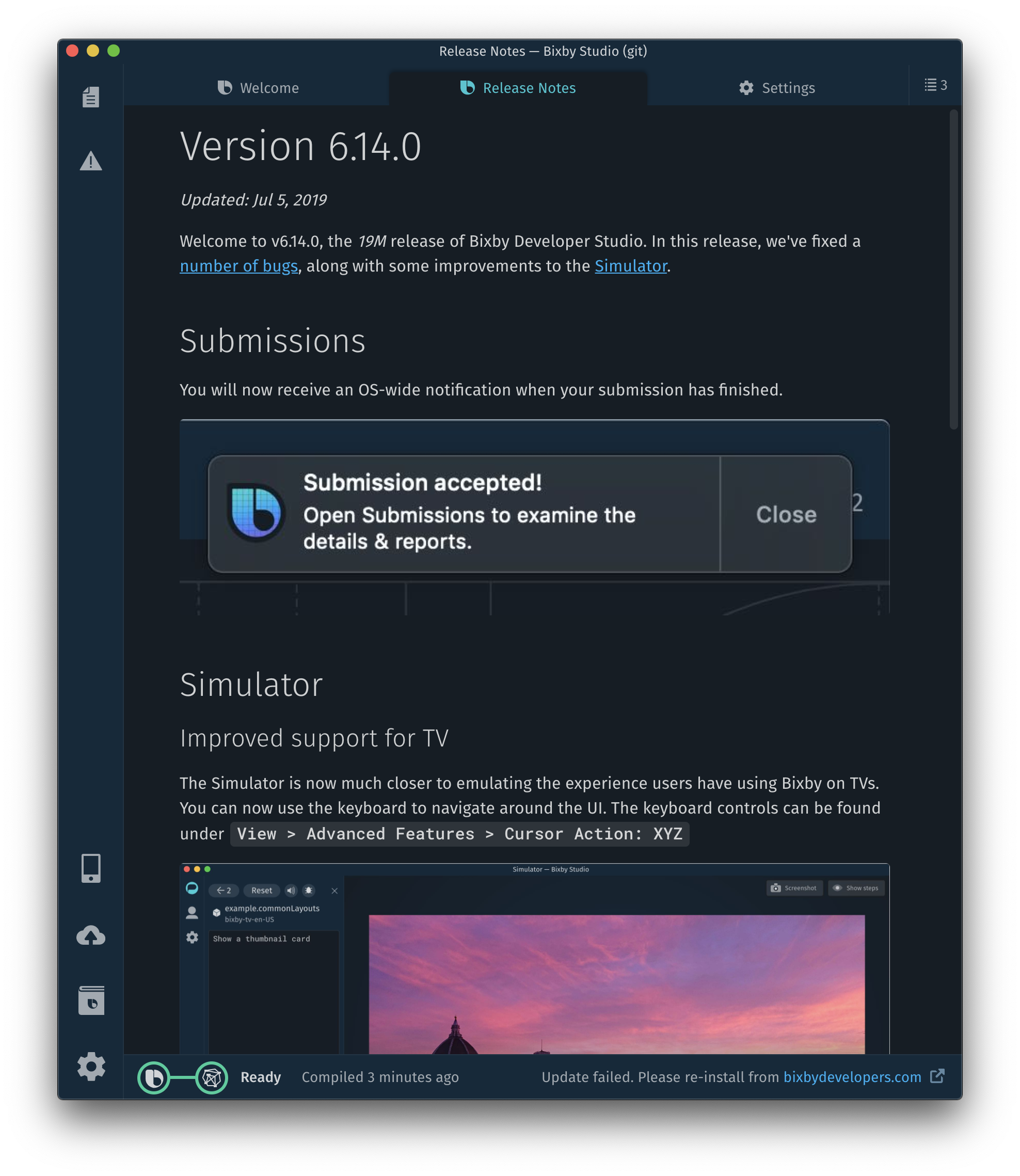 Release notes tab