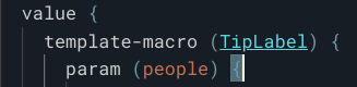 Template Macro line in code, when the clickable macro name