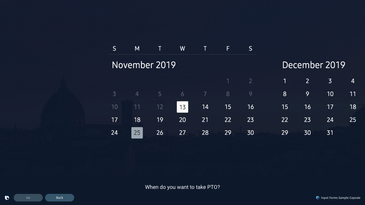 calendar, single date selected on TV